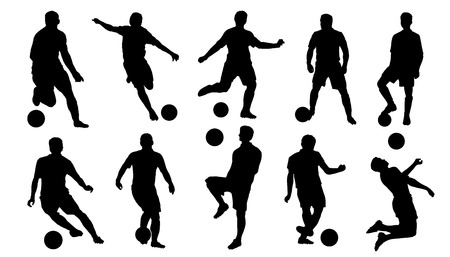 soccer player silhouettes on the white background