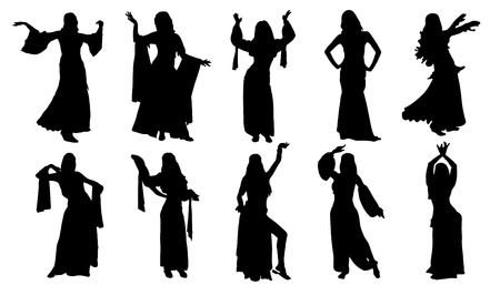 abdomen women: dancer silhouettes on the white background