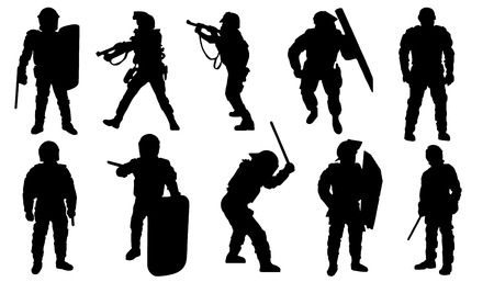 police silhouettes on the white background Vector