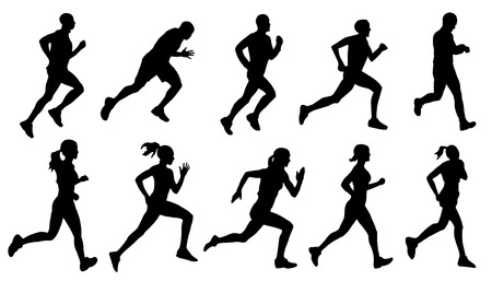 run silhouettes on the white background Ilustrace