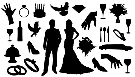 wedding silhouettes on the white background Vector
