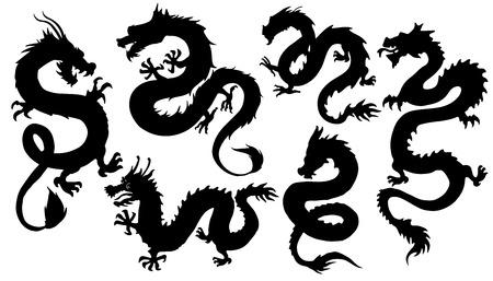 白い背景の上の中国の dragon2 シルエット