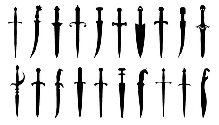 throwing knife: dagger silhouettes on the white background