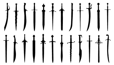sword fight: sword silhouettes on the white background