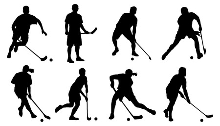 hockey players: floorball silhouette on the white background