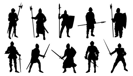 sir: knight silhouettes on the white background