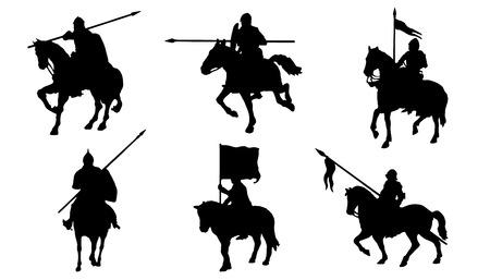 Koń rycerz sylwetki na białym tle