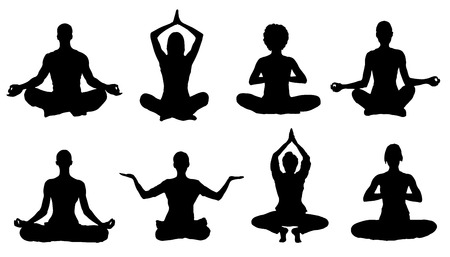 meditation silhouettes on the white background Çizim