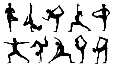 pose: yoga silhouettes on the white background