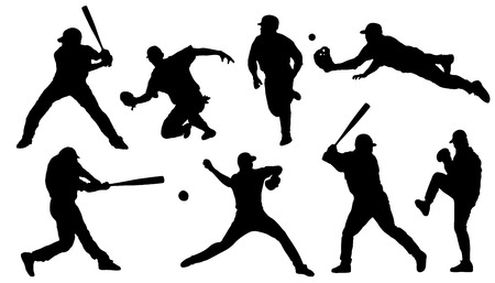 acion: sihouettes de béisbol en el fondo blanco Vectores