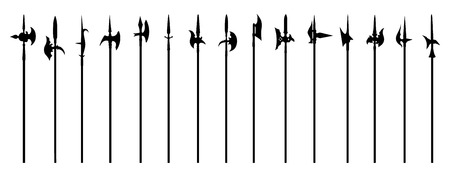 halberd silhouettes on the white background Vector