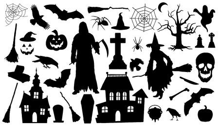 halloween silhouetten op de witte achtergrond Stock Illustratie