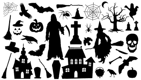 halloween silhouettes on the white background Vettoriali
