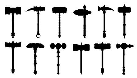 siluetas de martillo en el fondo blanco Vectores