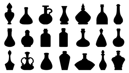 mana: potion silhouettes on the white background Illustration