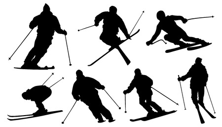 downhill skiing: ski silhouettes on the white background Illustration
