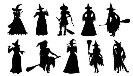 bruja: siluetas de brujas en el fondo blanco