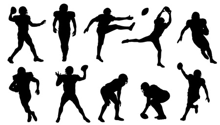 kicking ball: football silhouettes on the white background Illustration