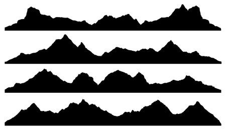 silhueta: silhuetas de montanha no fundo branco Ilustração