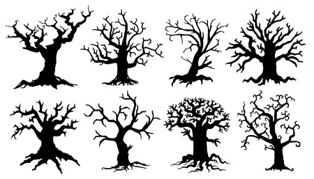 scary tree silhouettes on the white background Illustration