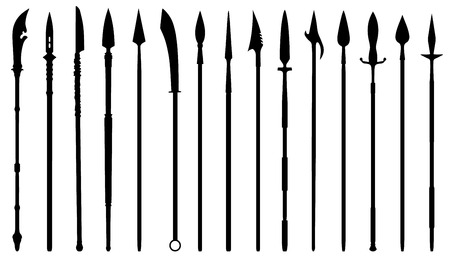 spear silhouettes on the white background Vector