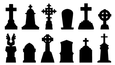 funeral: tombstone silhouettes on the white background