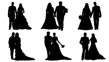 wedding couple silhouettes on the white background Illustration