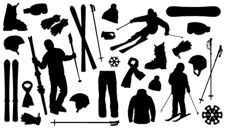 all ski silhouettes on the white background Vector