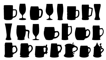 tankard: beer silhouettes on the white background Illustration