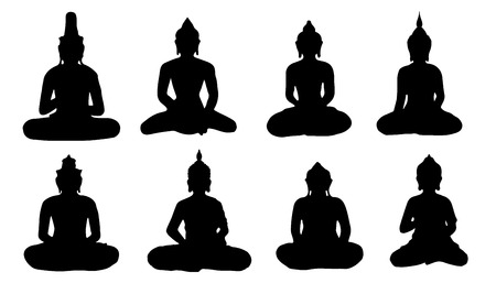 buddha silhouettes on the white background