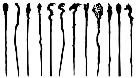 magic staff silhouettes on the white background Illustration