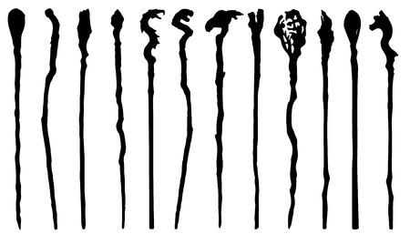 siluetas del personal mágicas sobre el fondo blanco