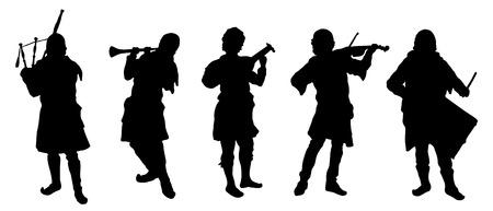 geigen: Musiker Silhouetten auf den wei�en Hintergrund
