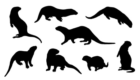 otter silhouettes on the white background Vettoriali