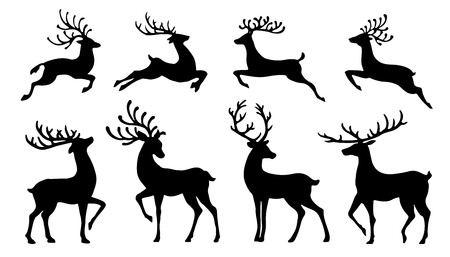 christmas reindeer silhouettes on the white background Çizim