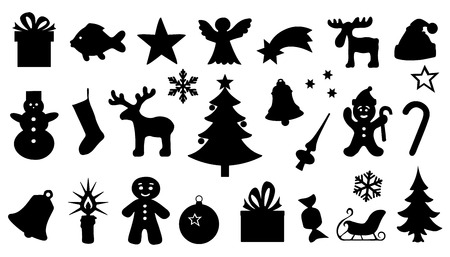 chritmas silhouttes on the white background