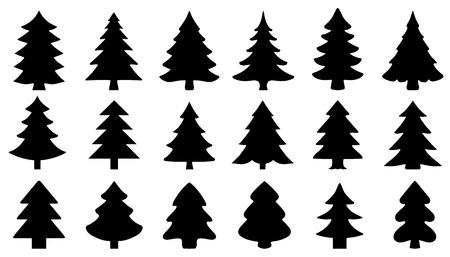 Chritmas tree2 sagome su fondo bianco Archivio Fotografico - 33090488
