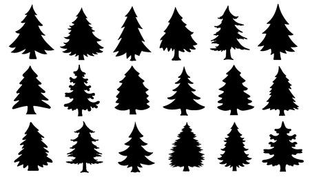 arbol de pino: chritmas siluetas de árboles en el fondo blanco