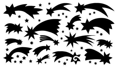 estrellas de navidad: siluetas de cometas en el fondo blanco Vectores