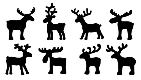 funny reindeer silhouettes on the white background