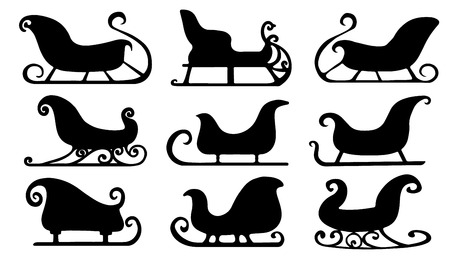 sleigh silhouettes on the white background Vector