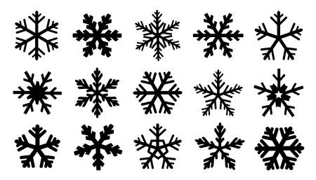 snowflake set: snowflake silhouettes on the white background