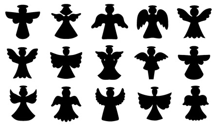 christmas angels: angel silhouettes on the white background