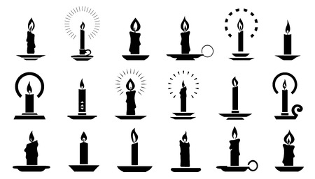 candle2 silhouettes on the white background Stock Illustratie