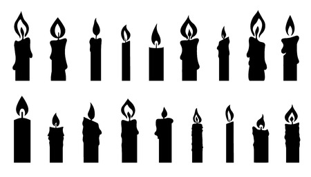 candle silhouettes on the white background Vettoriali