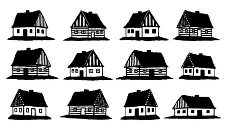 hut silhouettes on the white background