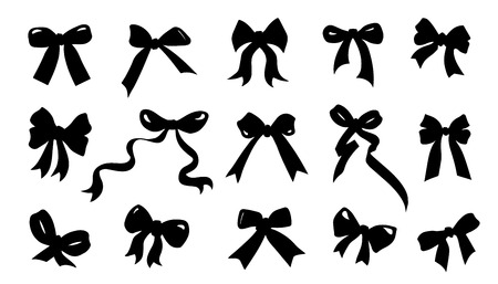 ribbon bow silhouettes on the white background  イラスト・ベクター素材