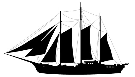 caravel: sailboat silhouettes on the white background Illustration
