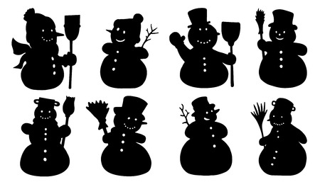 snowman background: snowman silhouettes on the white background Illustration