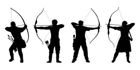 archery: archer silhouettes on the white background
